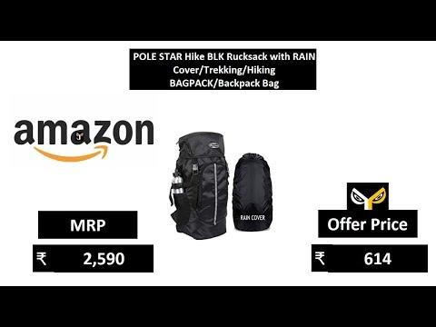 POLE STAR Hike BLK Rucksack with RAIN CoverTrekkingHiking BAGPACKBackpack Bag