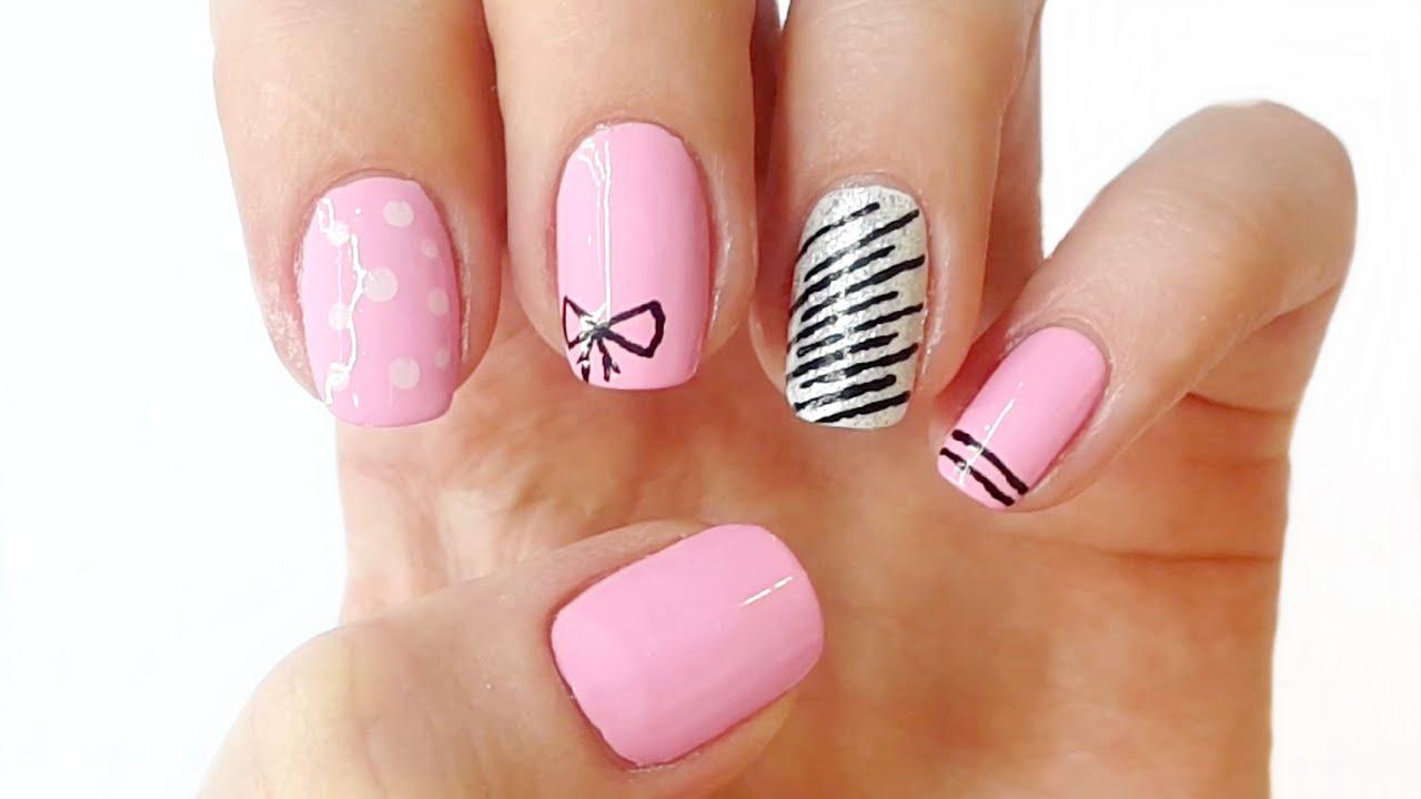 Hot Pink Summer Nail Designs | Summer Nails - YouTube