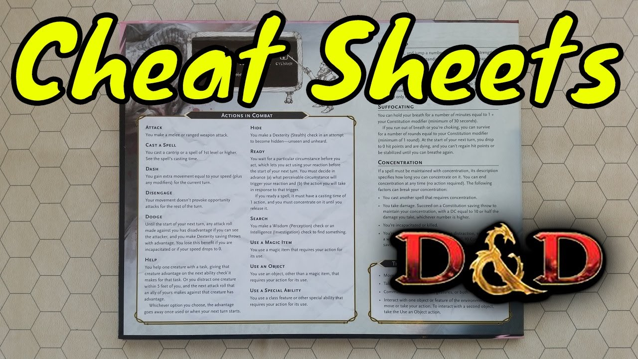 Cheat Sheets are Lazy (Dungeons & Dragons 5E)