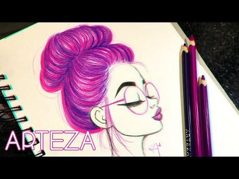♡-how-to-draw-and-color-hair-in-a-bun-ft.-arteza-color-pencils-♡