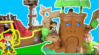 """JAKE and the NEVER LAND PIRATES """"Sneaky Tiki Tree Playset"""" with Jake, Captain Hook & Peter Pan"""