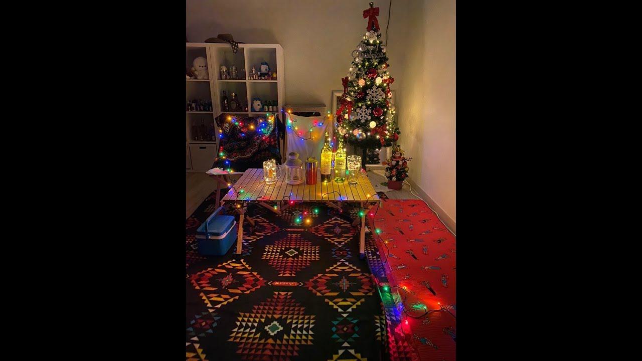 집콕 크리스마스 홈캠핑 인테리어 조명 분위기 트리만들기