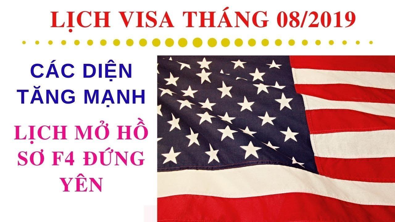 Lịch Visa Và Lịch Mở Hồ Sơ Tháng 08/2019