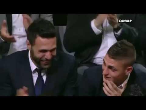 Zlatan Ibrahimovic speaks French at awards ceremony: Sirigu & Veratti laugh hysterically