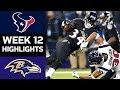 Texans vs. Ravens | NFL Week 12 Game Highlights