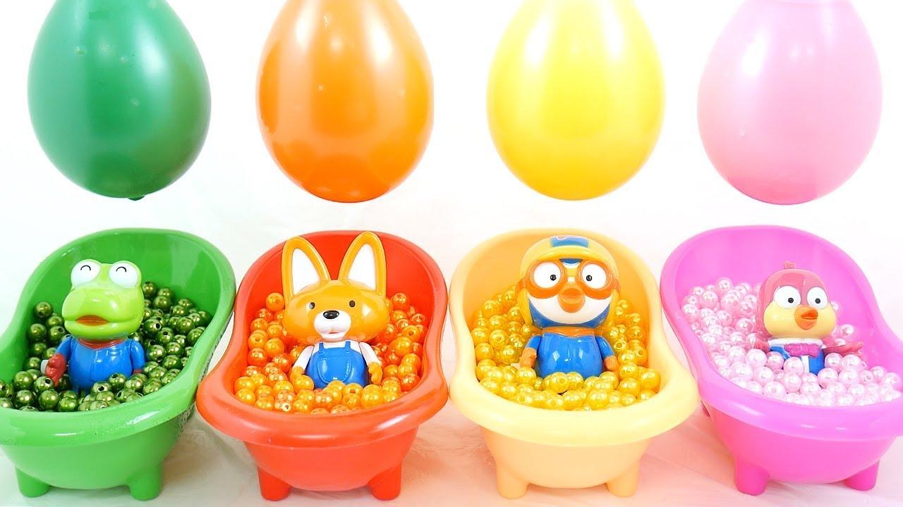 Aprende colores con Pororo y Friends Toys y globos de agua de colores para niños (español)
