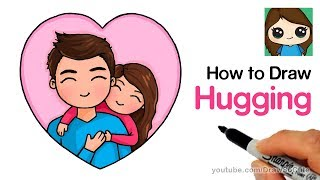 How to Draw Hugging Dad Easy