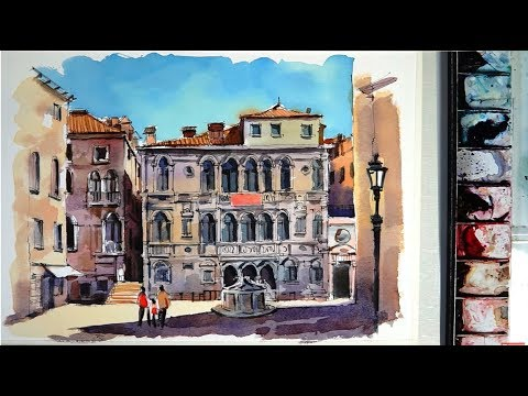 Line and Wash Watercolor : Old Quarter Campo Santa Maria