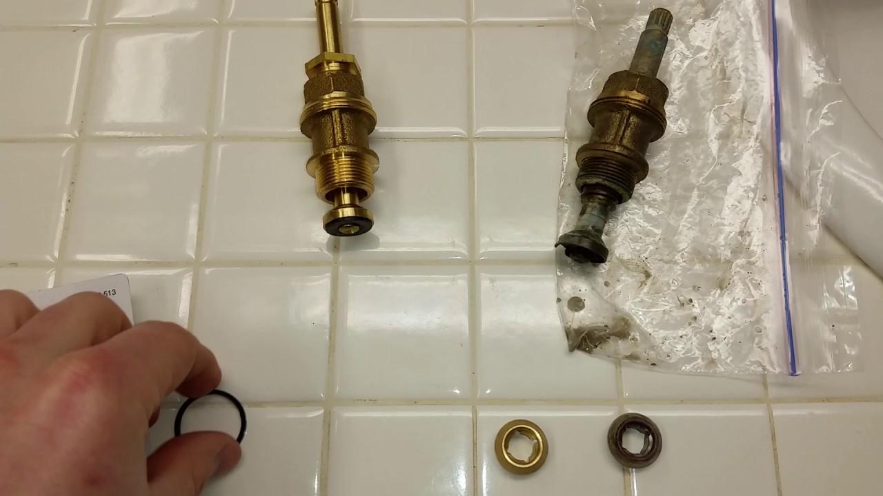 broken old faucet valve stem missing rubber washer fixing leaking shower tub faucet
