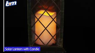 Solar Powered Lantern with Candle | B&M Stores