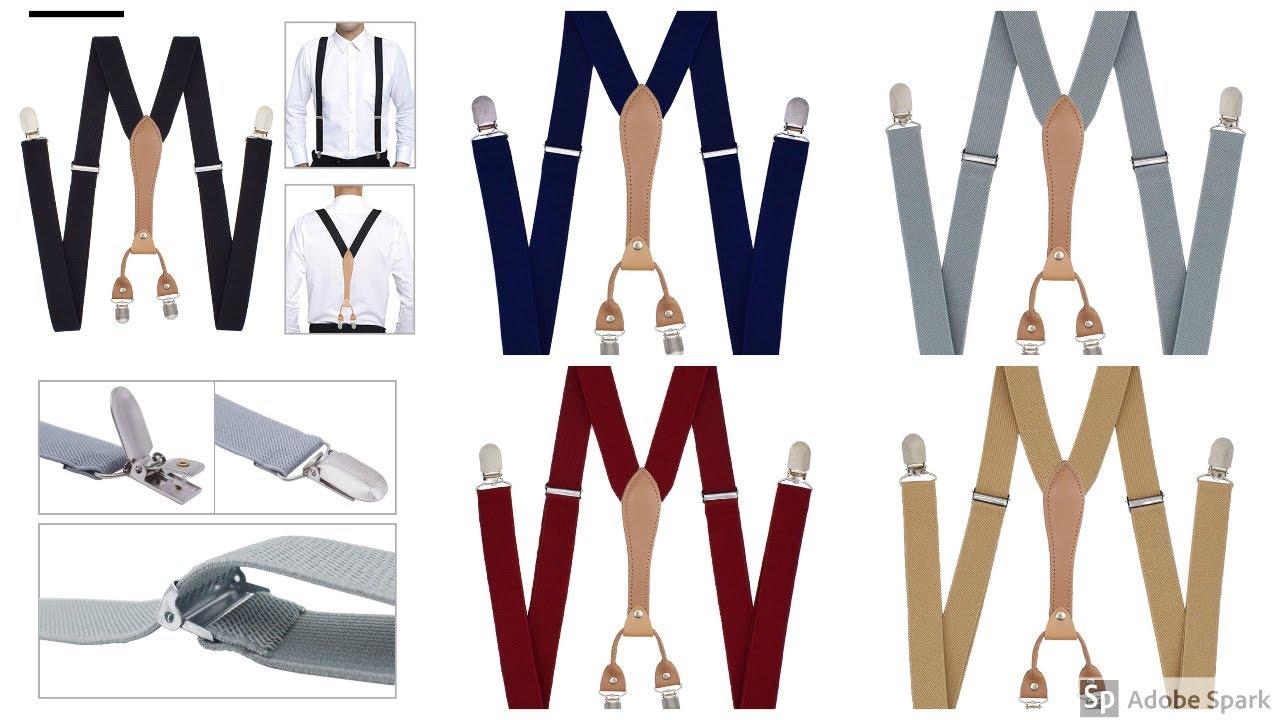 Men Black Suspenders Belt with Leather Polyester Elastic Clip-on Braces