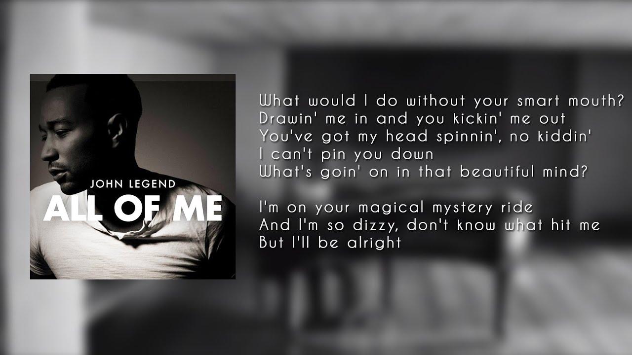 John Legend - All of Me ( LYRICS - KARAOKE - INSTRUMENTAL ...  John Legend - A...