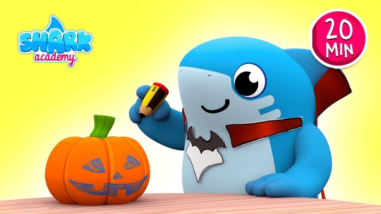 HALLOWEEN -Los TIBURONES se asustan con la CALABAZA MONSTRUO- Baby Shark Nursery Rhymes for Children