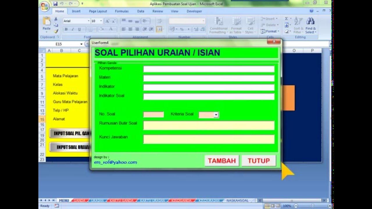 Aplikasi Pembuatan Soal Ujian Sekolah Format Microsoft Excel Youtube