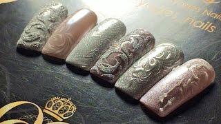 ТОП 5 зимних ДИЗАЙНОВ ногтей♥втирка♥пигмент♥акриловая пудра♥чеканка♥вензеля♥NOGTIKA & OLESYAGES NAIL