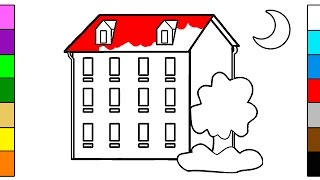 Learn Colors for Kids with House in the Night Coloring Pages
