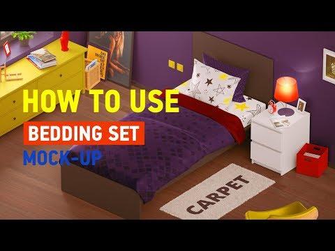 3d Bedding Set Mockup   Single Bed
