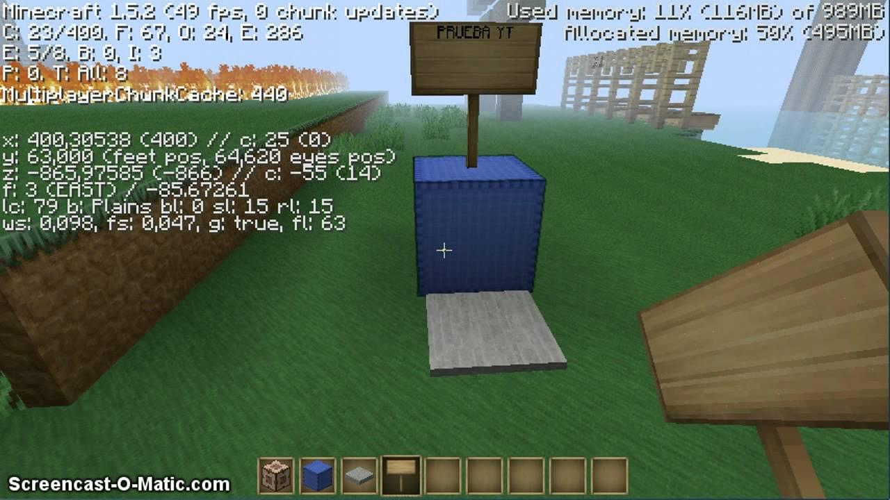 Como hacer un teletransporte en minecraft 1 5 2 youtube - Decoraciones para minecraft sin mods ...
