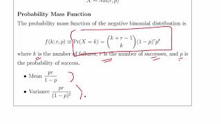 Negative Binomial Distribution - Worked Example