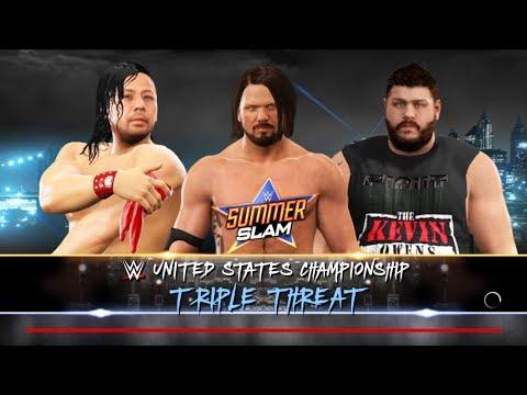 Kevin Owen vs AJ Styles vs Shinsuke Nakamura -Triple Threat Match- WWE U.S Championship -WWE 2K17