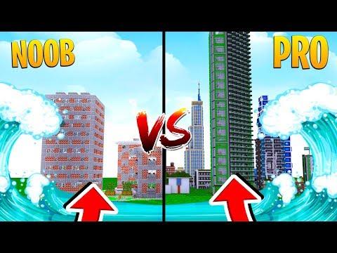 TSUNAMI VS CITY IN MINECRAFT - Noob Vs Pro Challenge