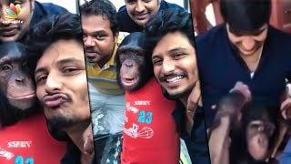 Real Gorilla Kissing Sathish & Jiiva I Shooting Spot I Shalini Pandey Official Making