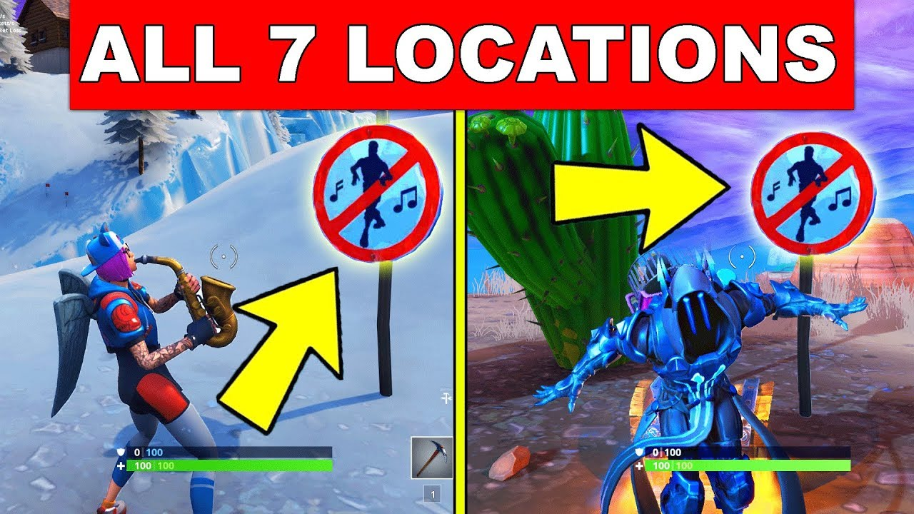 dance in different forbidden locations all 7 locations week 1 challenges fortnite season 7 - fortnite no dance signs season 7