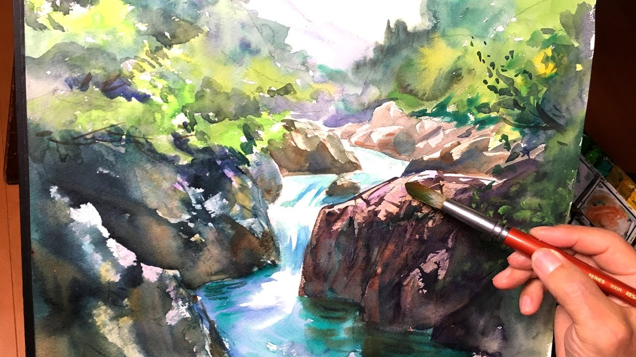 Eng sub  Watercolor Tutorial  How to paint a Mountain