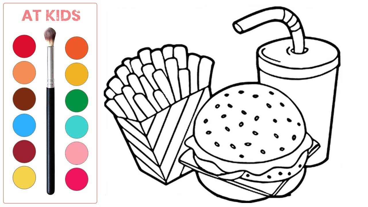 fast food drawing and coloring pages for kids  children's