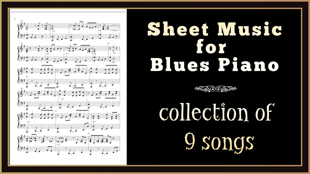 Blues Piano Sheet Music Collection of 9 songs with audio  Pre-listen here!