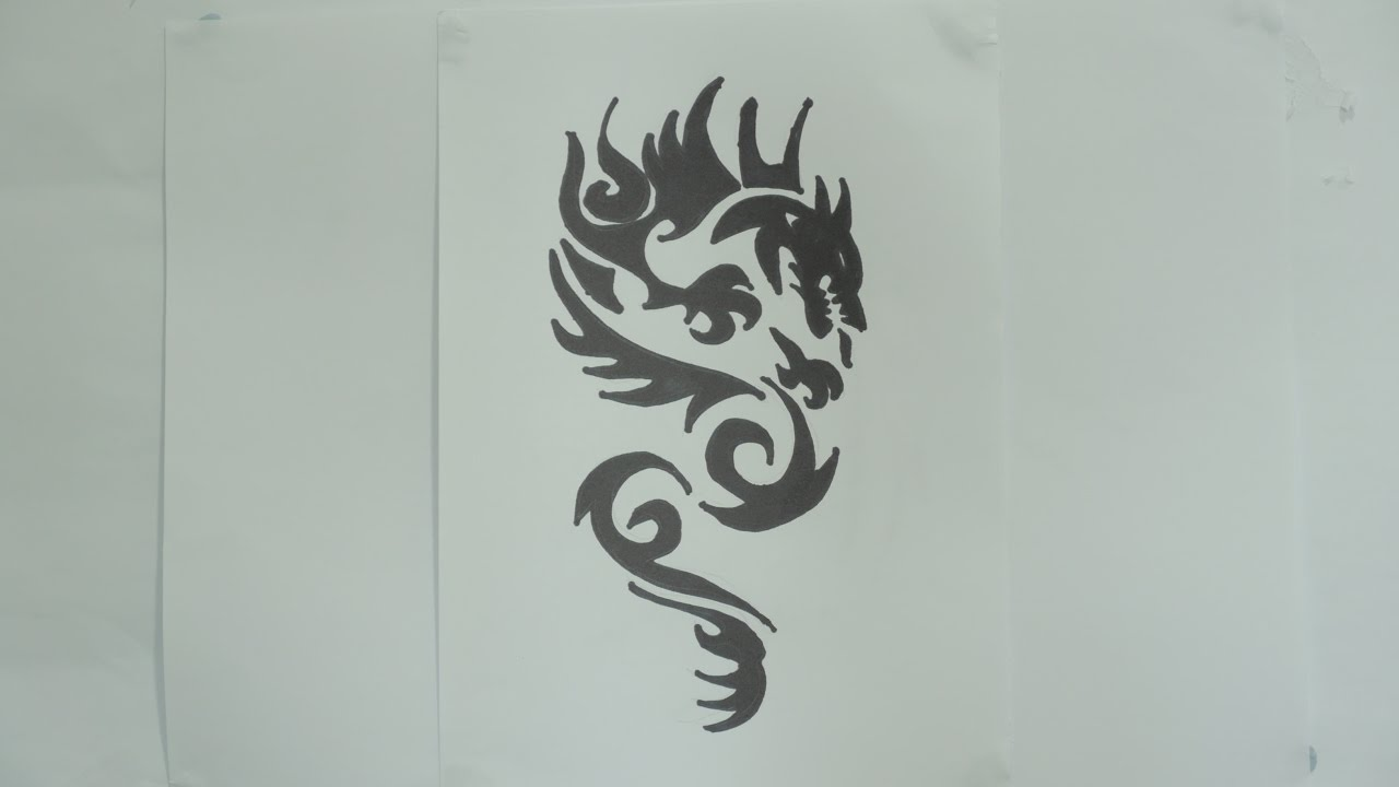 How To Draw A Dragon Tribal Tattoo Design #7