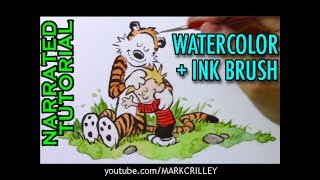 Calvin & Hobbes: Watercolor/Brush Inking Techniques