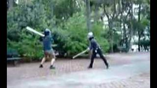 A fight in the Weaponfight Club in Athens, Greece, between Cataphra...