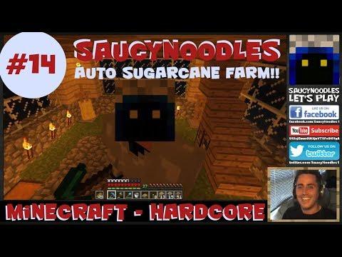 Auto Sugarcane Farm!!  Minecraft Hardcore Let's Play Season 1.Episode 14