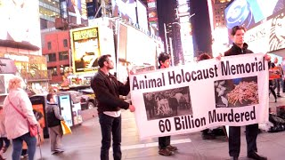 """Animal Holocaust Memorial"" Animal Activists On Holocaust Remembrance Day Times Square  4/16/15"