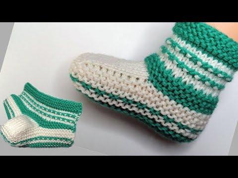Детские пинетки вязание спицами и крючком