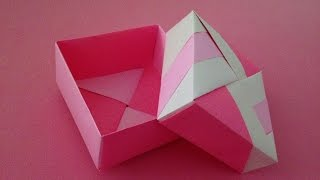Origami Unit box(3)with lid instructions 折り紙のユニット箱(3) 簡単な折り方