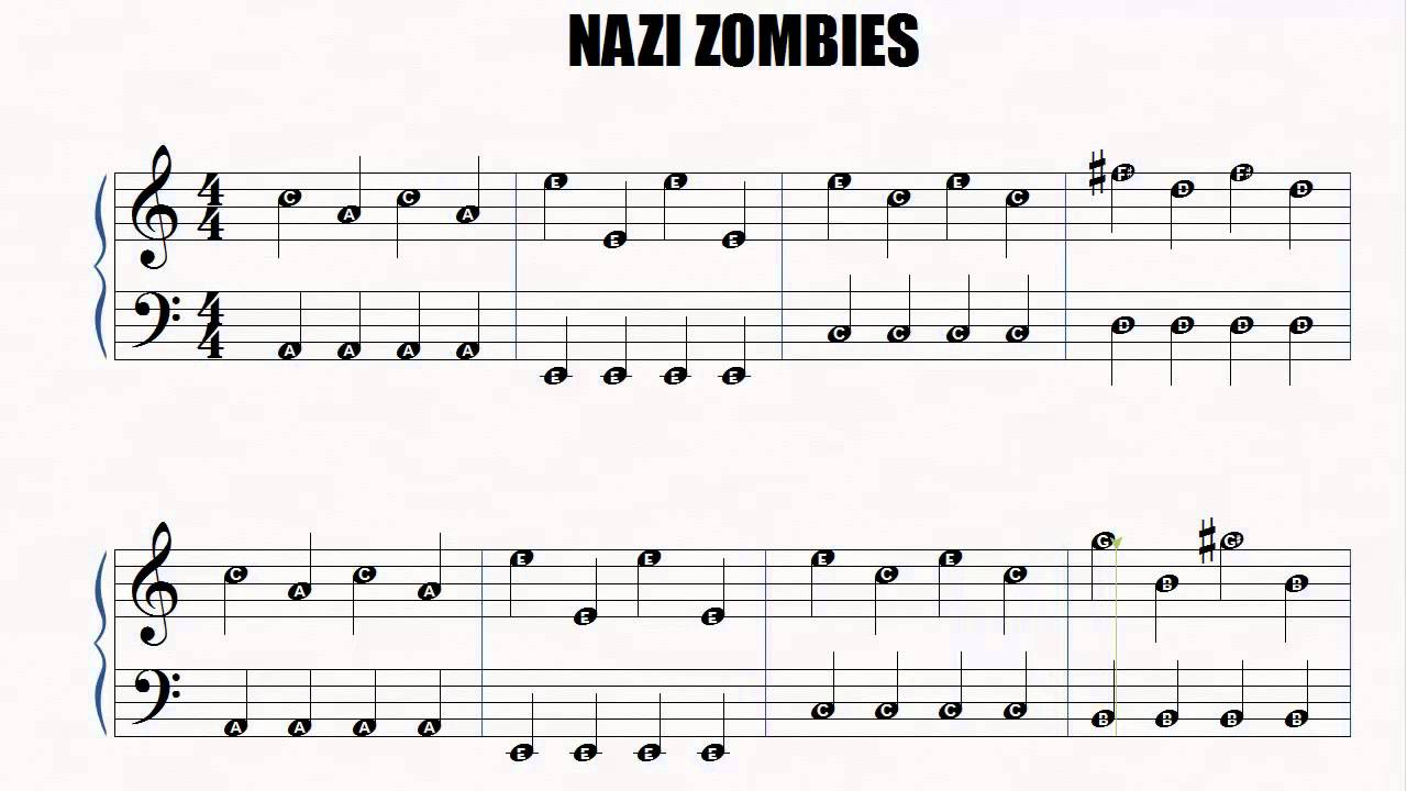 Piano Nazi Zombies Easy Piano Slow Letter notes - YouTube