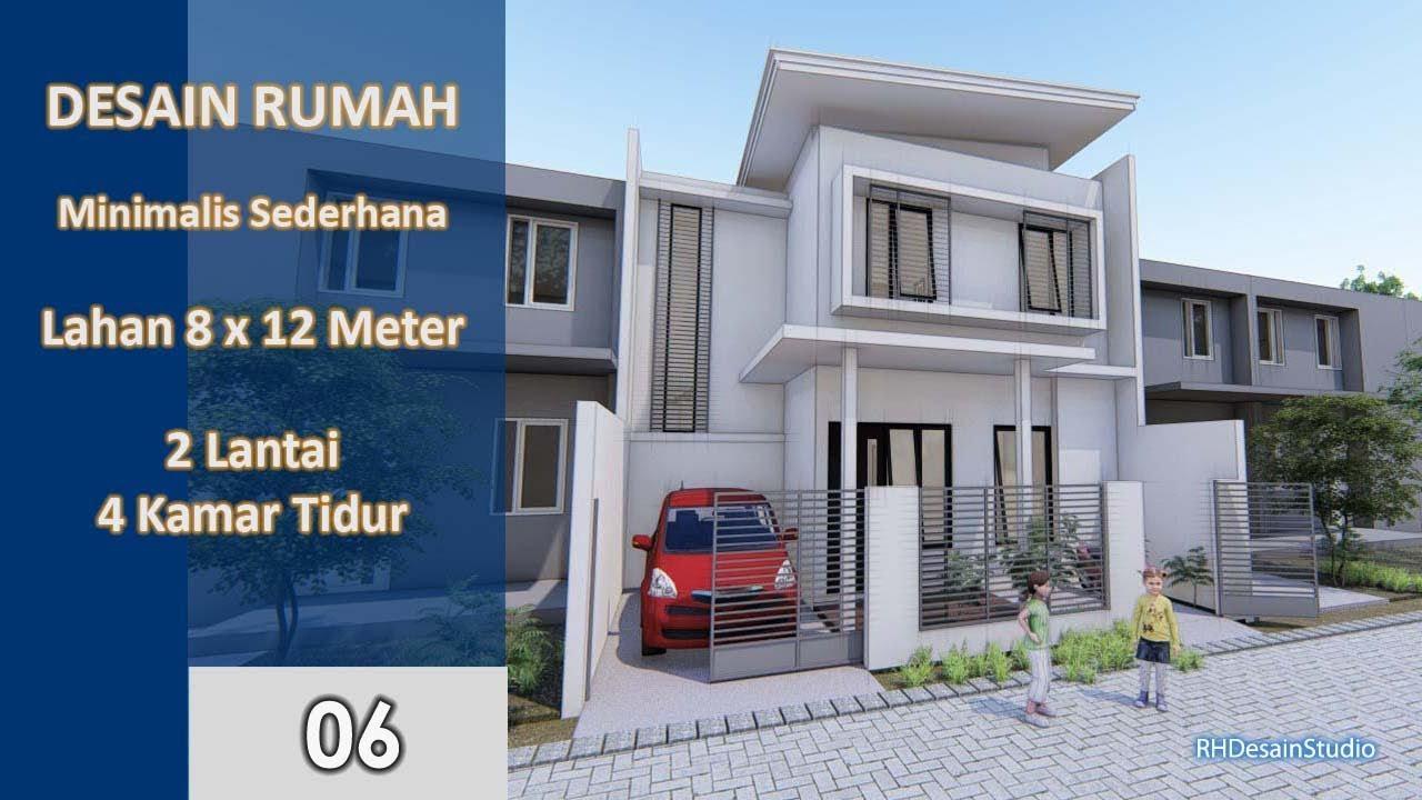 Desain Rumah Minimalis 8x12 Meter 4 Kamar Tidur 2 Lantai Kode Rh 6