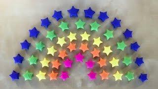 Regenbogen Deko: Origami Stern basteln mit Papier - Geschenk selber machen - DIY - Ideen - 3D