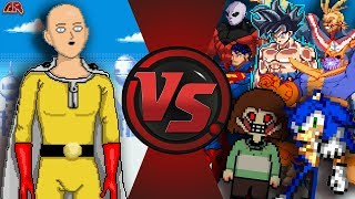 ONE PUNCH MAN vs THE WORLD 2! (Saitama vs Sonic, Goku, Chara, Thanos, Jiren, & More) AnimationRewind