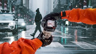 UNPREDICTED 200mm Snow Street Photography in Chicago POV