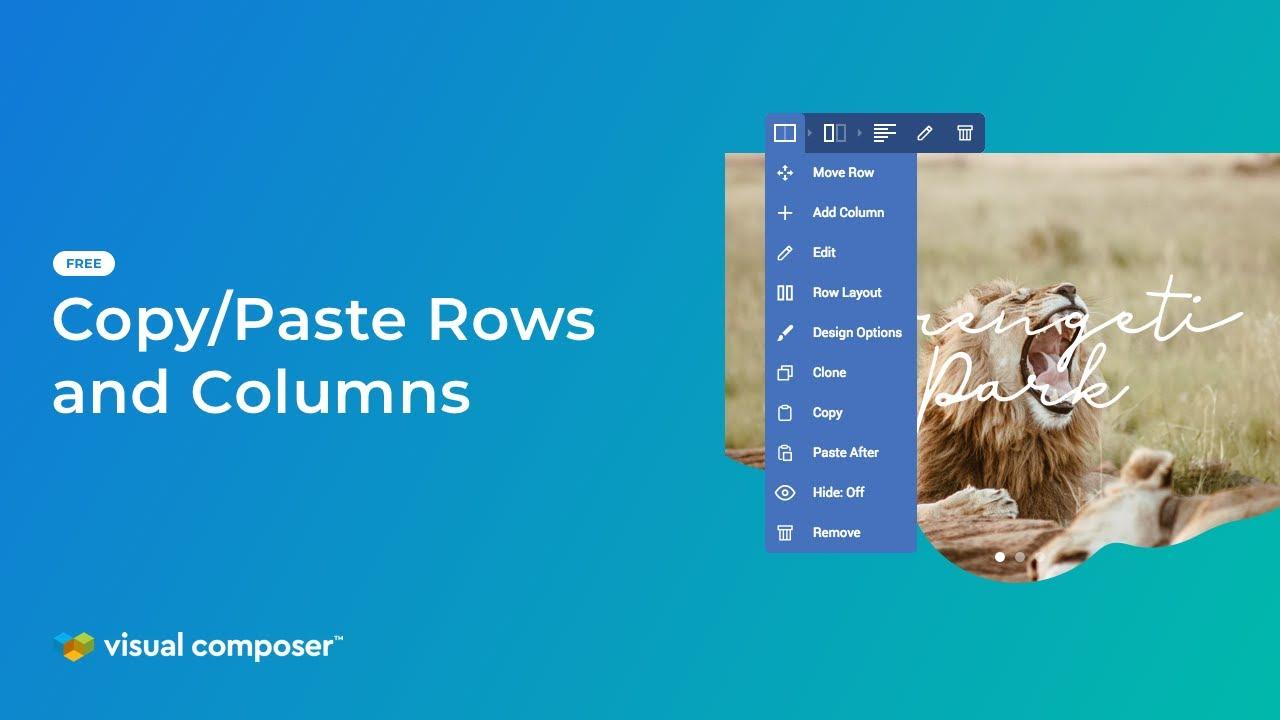 Copy/Paste Rows and Columns - Visual Composer Website Builder