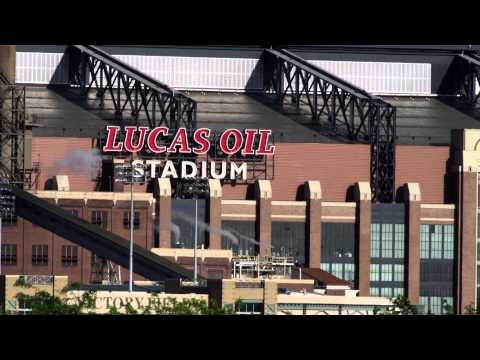 Close-up shot of the Lucas Oil Stadium, Indianapolis, Indiana.