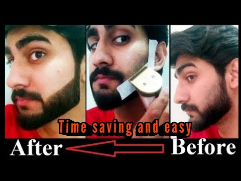 how to set beard by using tape at home , how to make khat , trim beard by own self .
