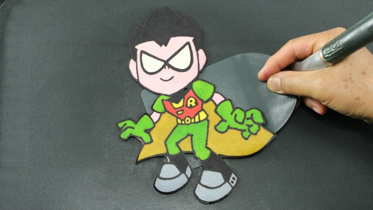 LEARN to DRAW and COLOR TEEN TITANS GO ROBIN PANCAKE!! AMAZING FOOD ...
