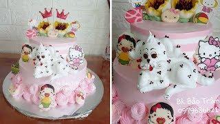 Decorate two tier cake with SUPER cute DOG // 68 // Bánh kem hai tầng với con chó siêu dễ thương