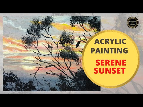 How to paint easy sunset scenery| SERENE SUNSET|Acrylic Painting Tutorial|For Beginners|Time-lapse