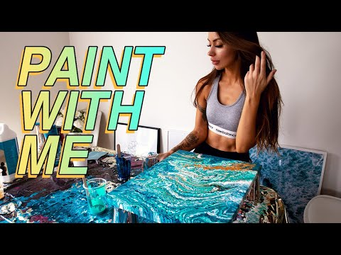 Paint With Me: Acrylic Pouring   THE EASIEST FLUID ART TECHNIQUE FOR BEGINNERS!