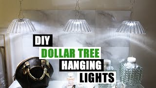 DIY DOLLAR TREE HANGING LIGHTS Dollar Store DIY Pendant Lighting DIY Glam Decor